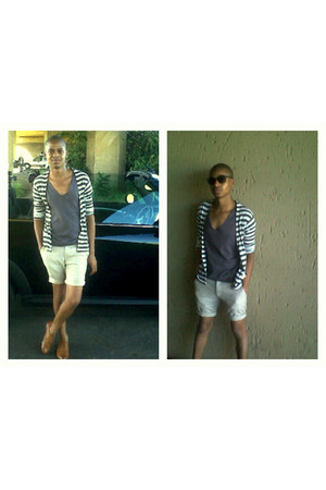 stripe X & O cardigan - linen Scorpio shorts - Birlin sunglasses