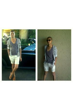 stripe X & O cardigan - linen Scorpio shorts - Birlin sunglasses