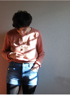 pink Topshop sweater - blue Zara shorts - gold H&M earrings - gold pull&bear nec