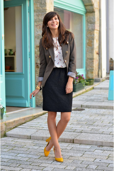 olive green Mango blazer - Zara shirt - black H&M skirt