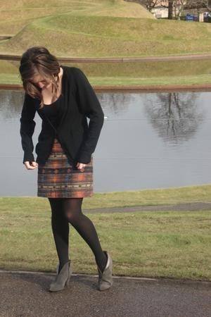 black Urban Outfitters dress - orange vintage skirt - gray boots - black Comptoi