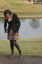 black Urban Outfitters dress - orange vintage skirt - gray boots - black Comptoi
