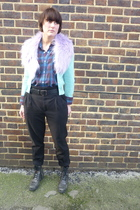 green French Connection cardigan - blue charity shop shirt - purple H&M scarf -