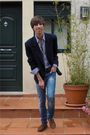 Purple-zara-shirt-blue-vintage-blazer-blue-pull-and-bear-jeans-brown-vinta