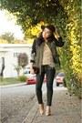 Black-metallic-sanctuary-jeans-olive-green-brocade-sanctuary-jacket