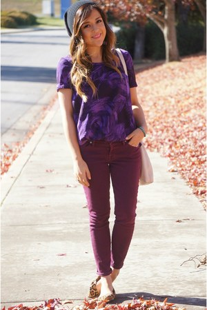 denim Seven Jeans jacket - purple vera wang shirt - leopard Steve Madden flats