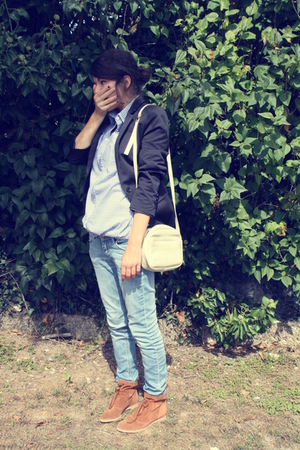 blue Zara blazer - blue H&amp;M jeans - blue Zara shirt - beige accessories