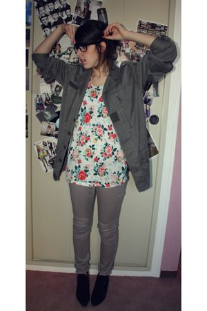 green Fripe jacket - black Fripe boots - beige H&M shirt - beige H&M pants