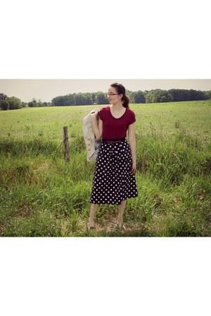 black homemade skirt - tan H&M blazer - maroon Target t-shirt