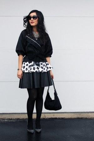 leather boundary & co skirt - satin elle jacket - Wolford stockings