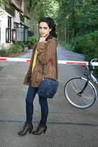 brown diana boots - dark brown Zara jacket - navy Zara purse - yellow floral pri