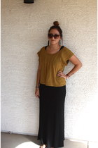 black earrings - black dress - mustard blouse - brown glasses