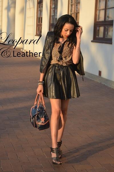 leather vest H&M vest - Aldo heels - Mr Price skirt