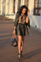 leather vest H&M vest - Aldo heels - Mr Price skirt