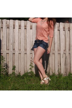 peach stripedsequin Red Camel shirt - navy denim jean Mudd shorts