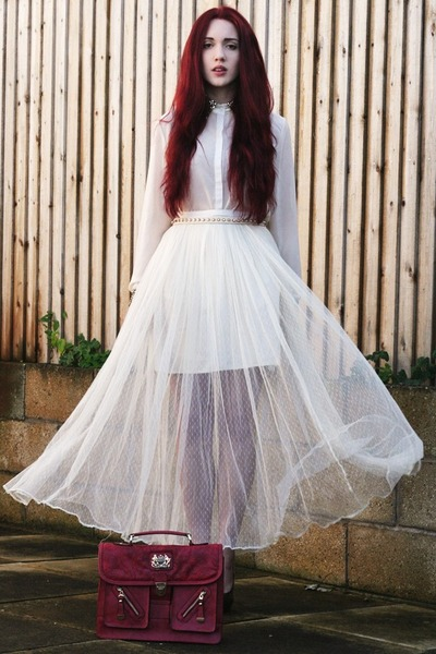 net maxi Dahlia skirt - red satchel DSUK bag - sequin detail romwe blouse