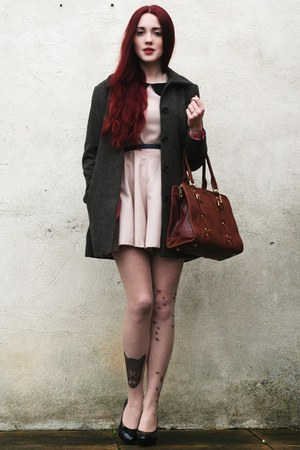 leather bag - tweed H&amp;M coat - AX Paris romper - tattoo stockings