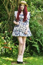 boater next hat - Vintage Style Me dress - frilly Topshop socks - new look heels