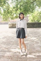 pleated leather skirt - jc lita boots - shirt - satin bowtie tie - belt