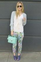 blue Zara heels - ivory floral pants Zara pants
