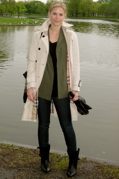 tan Burberry coat - forest green Elizabeth and James blazer