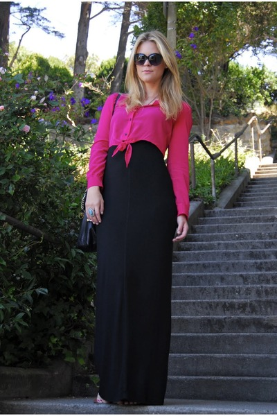hot pink H&Mm blouse - black Tart dress