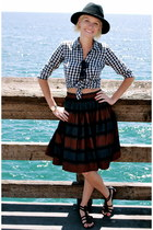 striped thrifted vintage skirt - black thrifted vintage hat