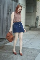navy suede vintage skirt - brown vintage Coach bag - light brown bow H&M blouse