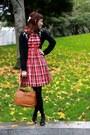 Red-vintage-dress-black-jcrew-cardigan-black-ferragamo-heels