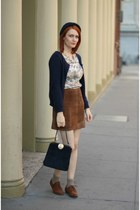 navy suede vintage bag - brown Forever 21 shoes - camel vintage blouse