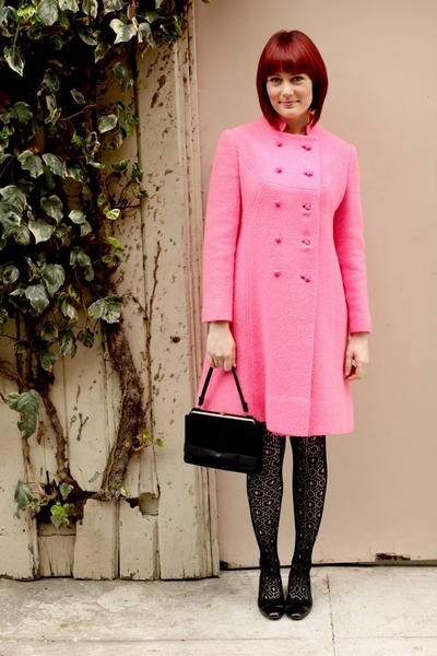 black tba dress - black thrifted vintage shoes - hot pink thrifted vintage coat