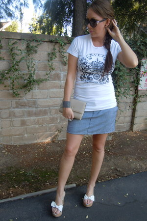 white RVCA t-shirt - black dior sunglasses - volcom skirt - Steve Madden wedges