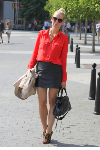 Amanda Schutz shoes - J Crew shirt - balenciaga bag - Zara leather skirt