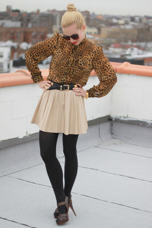 leopard asos shirt - leather Zara skirt - Zara sandals