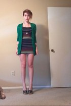 navy dress - green Target cardigan - bronze heels