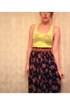yellow lace Urban Outfitters shirt - black tea length thrifted skirt