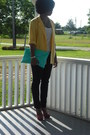 Yellow-thrifted-blazer-red-slingbacks-steve-madden-heels