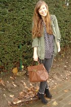 army green parka Forever21 jacket - black suede scholl boots