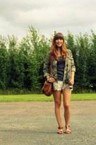 army green camo print Zara jacket - white crochet shorts Zara shorts