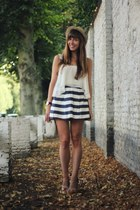 navy stripes asos skirt - ivory camera bag Kipling bag