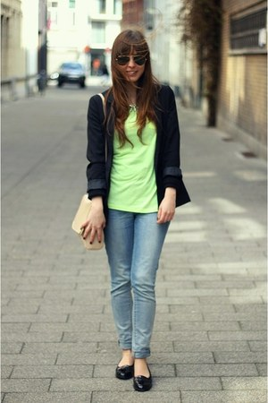lime green neon Primark t-shirt - black boyfriend H&amp;M blazer