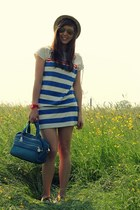 blue striped Petit Bateau dress - ivory boat shoes Sperry Top-Sider shoes