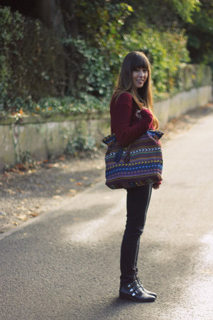 crimson knitted new look sweater - black studded Sacha boots