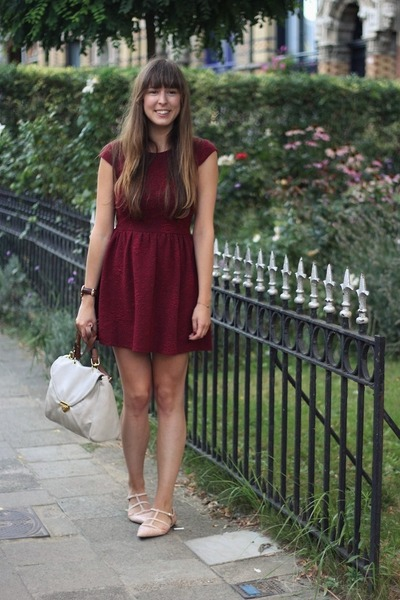 neutral studded Zara flats - brick red dress Topshop dress