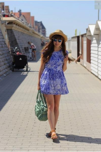 blue Topshop dress - blue mirrored ray-ban sunglasses