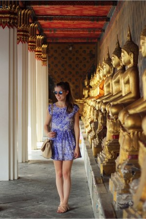 blue dress Topshop dress - blue clubmaster ray-ban sunglasses