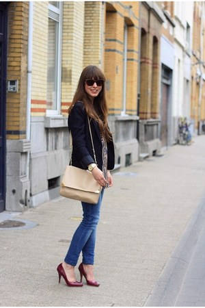 neutral striped Sheinside shirt - navy skinny Zara jeans