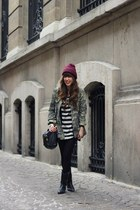black tunic Vero Moda dress - magenta beanie Zara hat