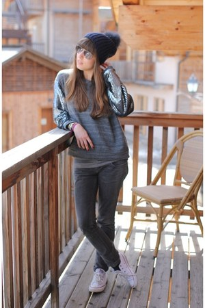 heather gray sequin essentiel sweater - charcoal gray skinny jeans Zara jeans