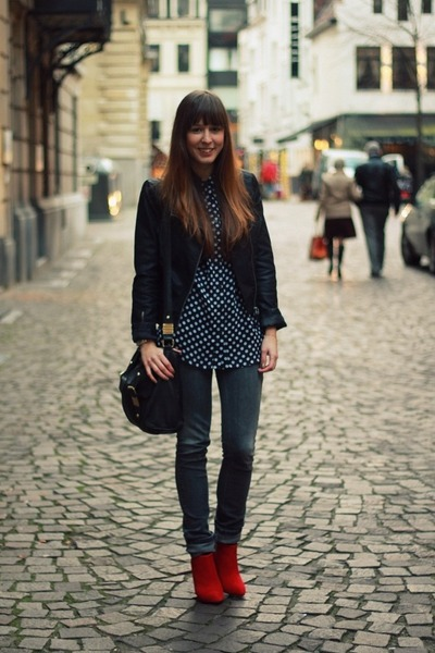 black biker Mango jacket - gray skinny Zara jeans